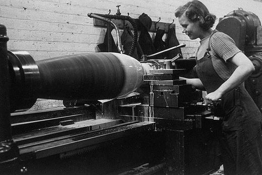 Making a bomb in a munitions factory