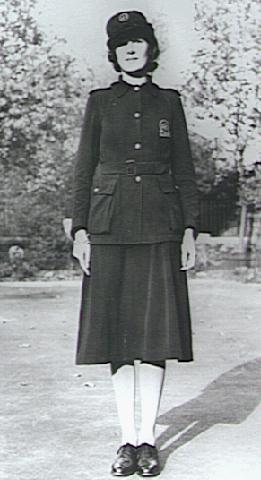 A woman member of the Auxiliary Fire Service