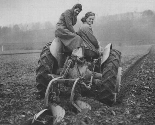 These women are driving a tractor