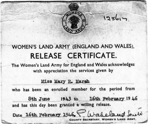 Mary's Release Document 8 June 1943 - 16 Feb 1946