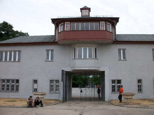 The main entrance gate of Sachsenhausen СС. From the balcony of this gate, SS officers looked at the prisoners who stood on the Appelplatz (roll call grounds) for hours on end in any weather.