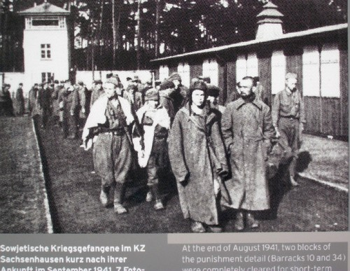 Captured soldiers and officers of the Red Army in Sachsenhausen CC. November 1941. Reported as MIA (missing in action) they were in fact prisoners here.