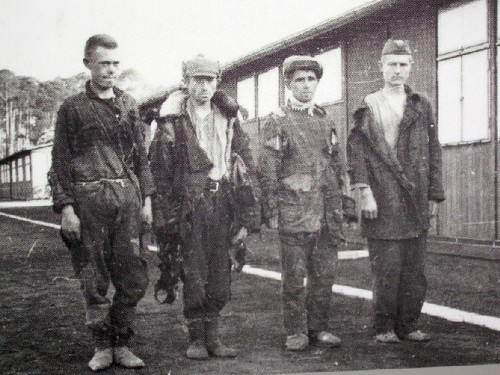 Captured soldiers and officers of the Red Army in Sachsenhausen CC. August 1941.
