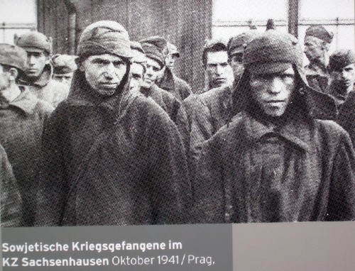 Captured soldiers and officers of the Red Army in Sachsenhausen CC. October 1941.