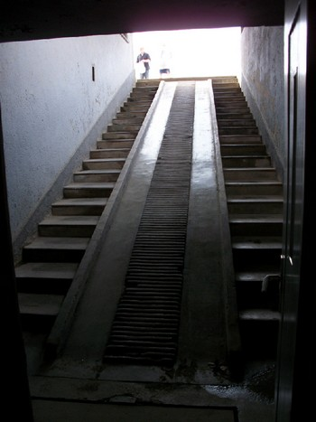 The stairs down which corpses were moved down to a corpses storage depot of the Pathology Unit. This was the final journey for thousands of prisoners.