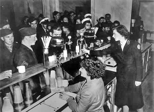 American servicemen at a milk bar