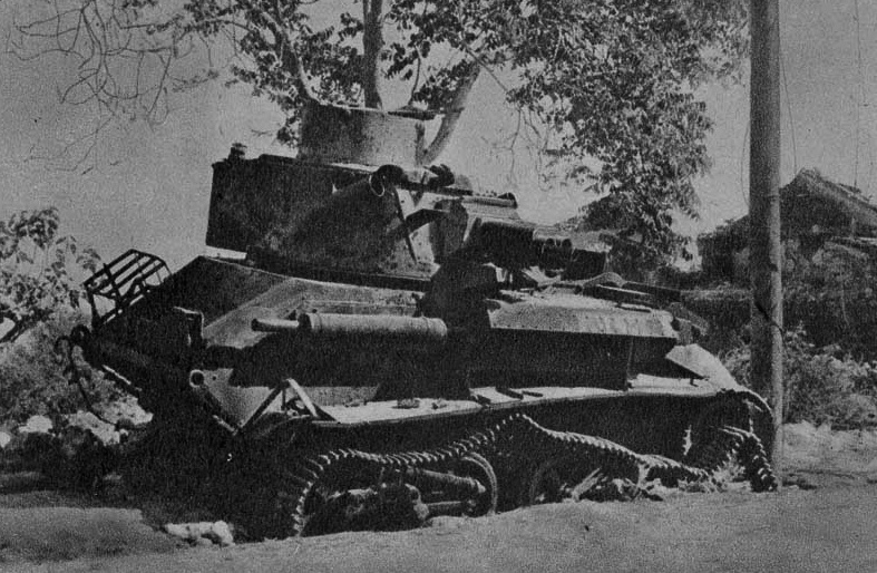 Destroyed British tank at Galatas